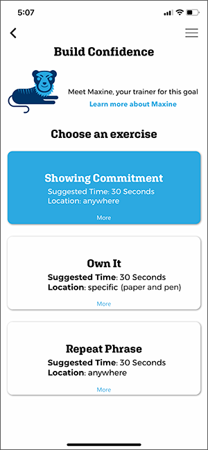 Start an Exercise app screen